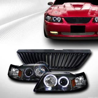 Blk Halo Projector Head Lights Front Hood Grill Grille VT 1999 2004 Ford Mustang