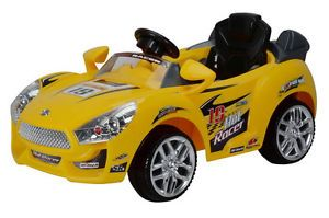 New Yellow Kids Ride on Car 6V Power Racer Wheels  RC Remote 6V 10AH Battery