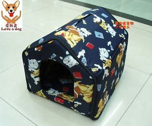 Snew Indoor Pet Dog Cat House Tent Bed Collapsible Red Navy Size Med and SM