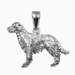 Golden Retriever Dog 3D Charm 925 Sterling Silver 25 12