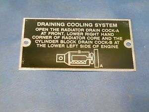 Dodge WC WWII Power Wagon Engine Cooling Data Plate