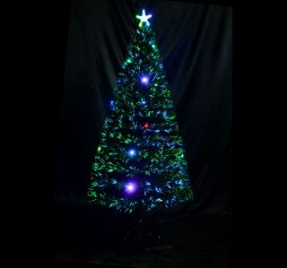 6 3ft Fiber Optic Christmas Tree with 24 LED Lights 230 Leaf Tips New