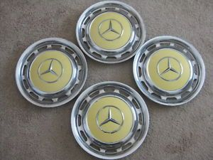 1975 Mercedes Benz 280 Hubcaps Wheel Covers Vintage Yellow