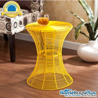 Indoor Outdoor Round Metal Accent Table Yellow Modern End Patio Porch Furniture