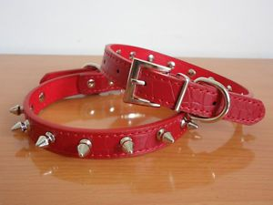 "Neck 8"" 11"" Leather Spiked Studded Dog Cat Collars Puppy Pet Collars Red Small"