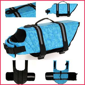 Quality Dog Life Jacket Safety Vest Pet Boat Presevers Blue Bones Print XXS XXL