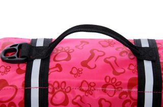 Quality Dog Life Jacket Safety Vest Pet Boat Presevers Pink Bones Print XXS XXL