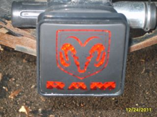 Trailer Hitch Cover Fits 2in Receivers w Red LED Light Square w Dodge Logo