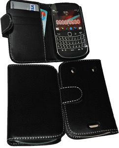 Blackberry Bold 9900 Black Leather Wallet Flip Case Holster Pouch Cover