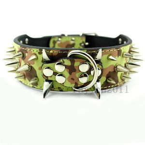 Camouflage Spiked Studded Leather Dog Collar Army Camo Pet Collar Pitbull Bully