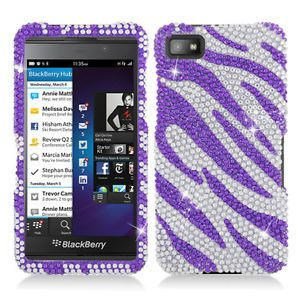 Purple Silver Zebra Bling Hard Case Snap on Cover for Blackberry Z10 Accessory