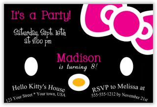 Hello Kitty Birthday Party Invitations Thank You U Print 4x6 or 5x7 Size