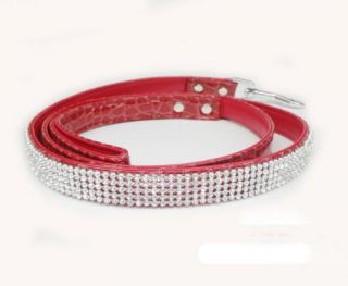 Rhinestone Crystal Jeweled Colorful PU Leather Pet Leads Dog Puppy Cat Leashes