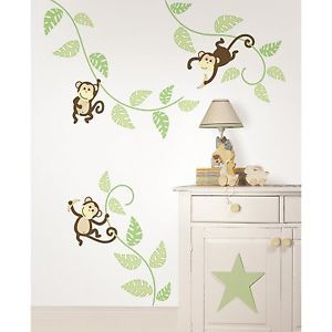 Monkey Swinging Vines 36 Big Wall Stickers Nursery Room Decor Kids Decals BR2