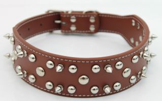 Leather Studded Dog Collar Pitbull Bull Mastiff XLarge Dog Collars Bull Dog