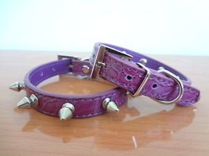 New Purple PU Leather Spiked Studded Small Dog Cat Collars Puppy Pet Collar S