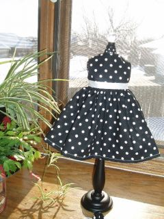 "Black White Polka Dot Dress Fits 18"" American Girl Doll Clothes"