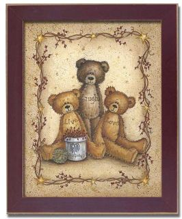 Live Laugh Love Teddy Bear Country Decor Print Framed