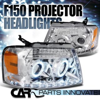 04 08 FORD F150 CHROME DUAL HALO LED STRIP PROJECTOR HEADLIGHT PAIR