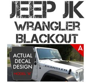 Jeep Wrangler JK Blackout Hood Decal Matte Black Mountain Edition
