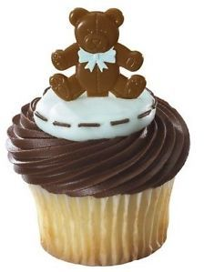 Teddy Bear Brown Blue Bow Boy Baby Shower 1st Birthday Party Cupcake Pics Picks