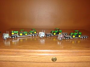 3 Athearn HO 1 87 Scale Trucks with Lowboy Trailers John Deere Tractors
