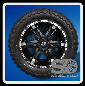 "20"" Ballistic Wizard Black Machined with 33x12 50x20 Toyo Open Country MT Tires"