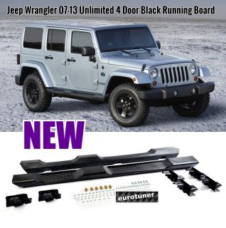07 08 09 10 11 12 13 Jeep Wrangler Unlimited 4 Dr Black Side Step Running Board