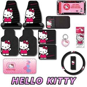 Hello Kitty Waving 12pc Car Interior Set Seat Covers Floor Mats Wave