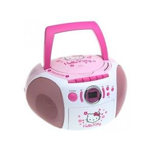 New Hello Kitty Stereo Boombox Children Girl Kids Portable CD Player Toy Radio