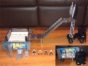 WWE Mattel Rumblers Truck Lorry Rig Wrestling Ring Figures Cena Kane Accessories