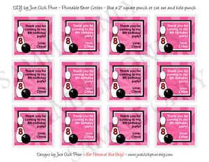 "Bowling Birthday Favor Tags Cupcake Toppers Birthday 2"" Printable DIY"