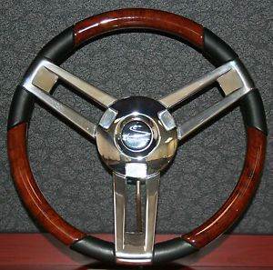 Magellano Boat Steering Wheel Black Burlwood Chrome Marine Use Only