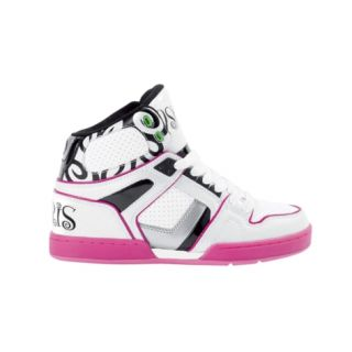 Womens Osiris NYC 83 Slim Ultra Skate Shoe in White Black Pink