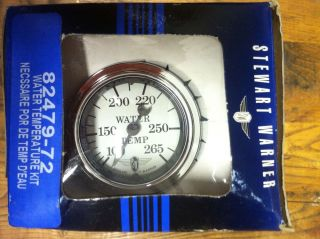 Curved Glass Stewart Warner Water Temp Gauge Kit 265 Hot Rod Street Car Rat