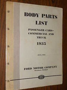 1935 Ford Car Truck Body Parts Catalog Original Book