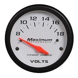 Stewart Warner Maximum Performance Series Voltmeter Gauge 214202