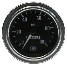 "Stewart Warner 82705 2 1 16"" Electric Oil Pressure Gauge 0 100 PSI"