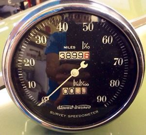 1940's Stewart Warner Crescent Pointer Survey Speedometer Gauge Rat Rod Scta