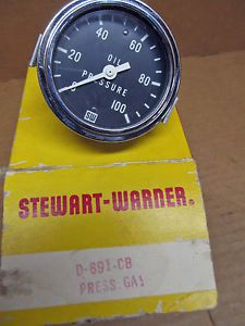 Vintage Stewart Warner Oil Pressure Gauge Mechanical D 691 CB