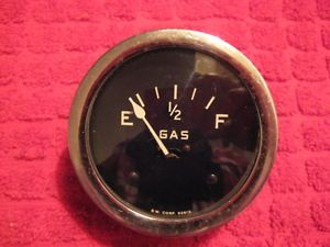 "Vintage Stewart Warner 2 5 8"" Fuel Gas Gauge Curved Glass Smooth Bezel Gasser"