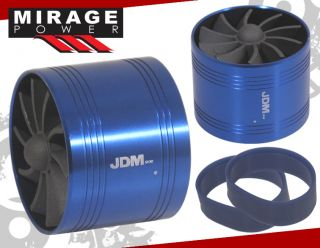 "2 5"" Cold Air Intake Short RAM Single Fan Gas Fuel Saver Unit Blue Civic RSX CRX"
