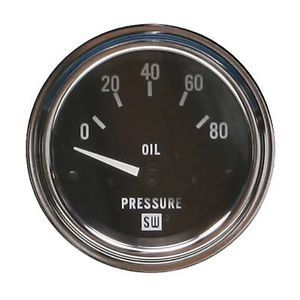 "Stewart Warner Deluxe Series Electrical Oil Pressure Gauge 2 1 16"" Dia 82113"