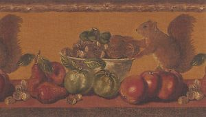Country Fruit Wallpaper Border Squirrels Fruit Peanuts Brown Wood Trim