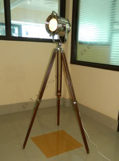Chrome Vintage Industrial Tripod Floor Lamp Nautical Spot Light Floor Lamp