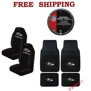 NFL Baltimore Ravens Car Truck Steering Wheel Cover Floor Mats Seat Covers