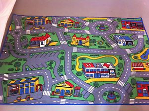 Kids Car Truck Roadway Play Mat Rug 4' x 6'
