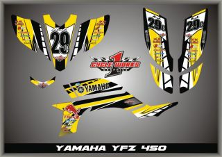 Retro YFZ450 YFZ 450 Yamaha Graphics Semi Custom Graphic Kit Pegantinas Yellow