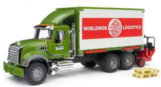 Bruder Toys Mack Granite Worldwide Logistics Container Truck w Forklift 02820