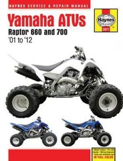 2001 2012 Yamaha Raptor 660 700 ATV Quad Manual